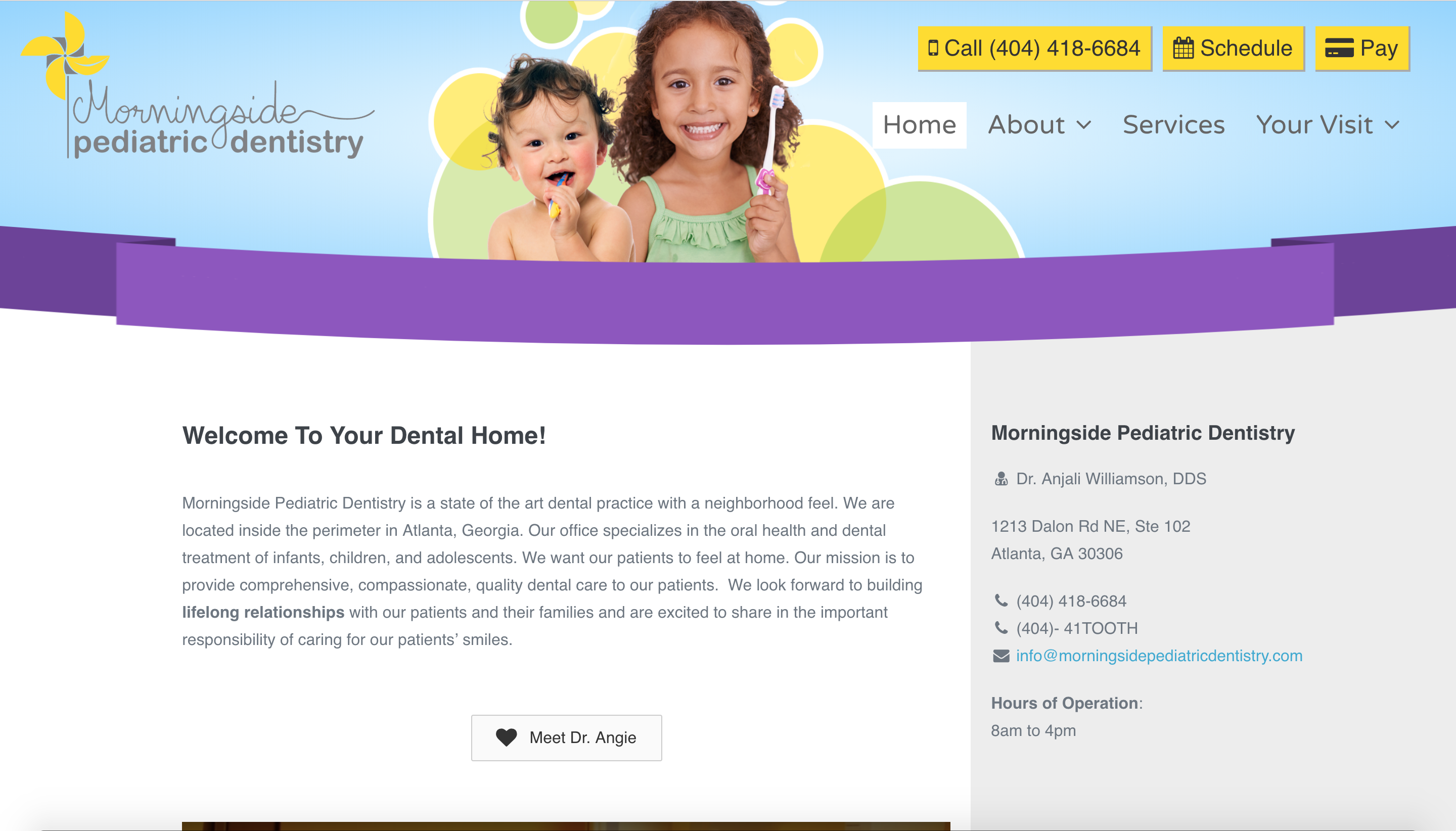 Web design for Morningside Pediatric Dentistry by Spokencode.