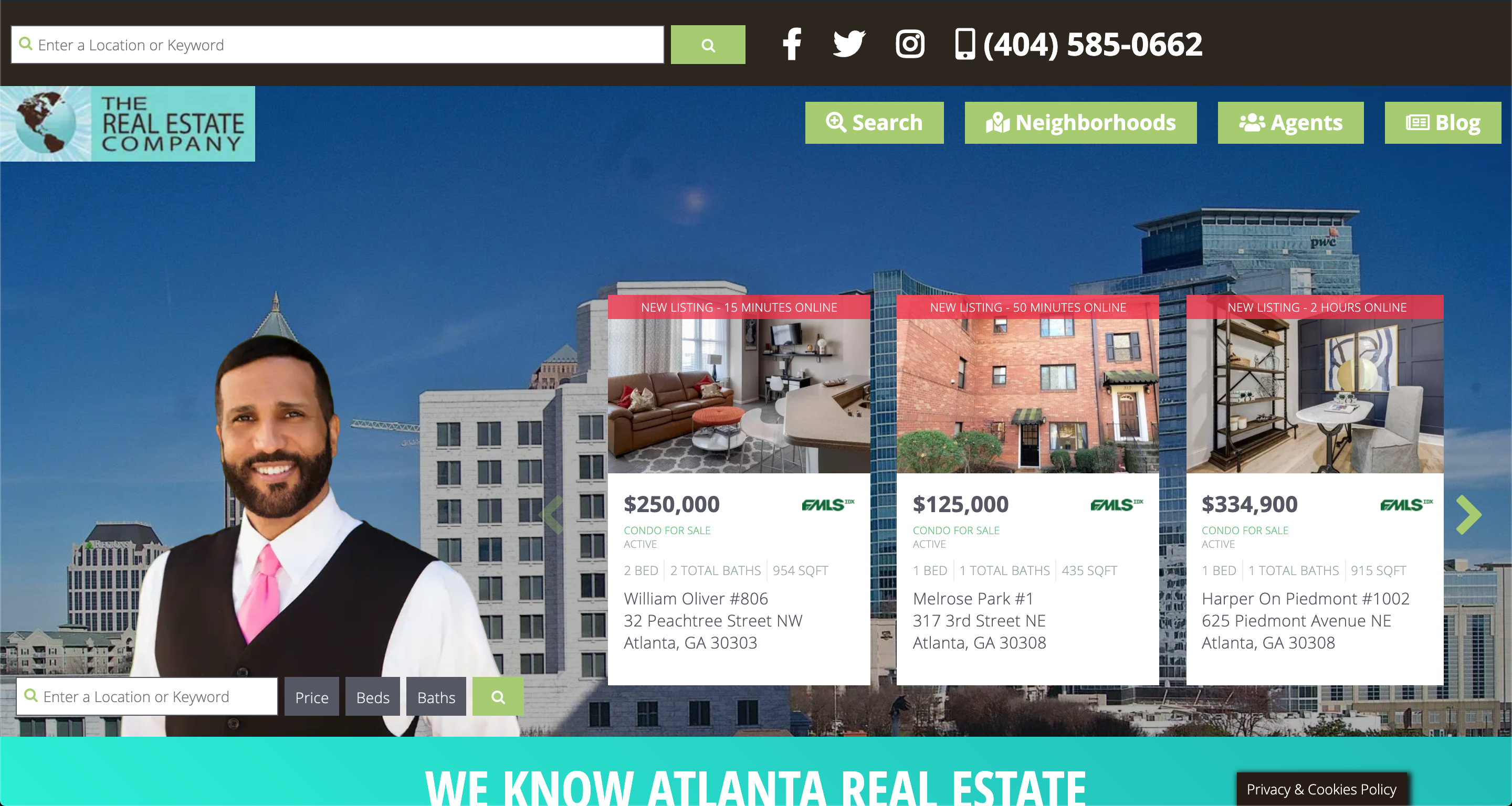 The Real Estate Company custom WordPress website.