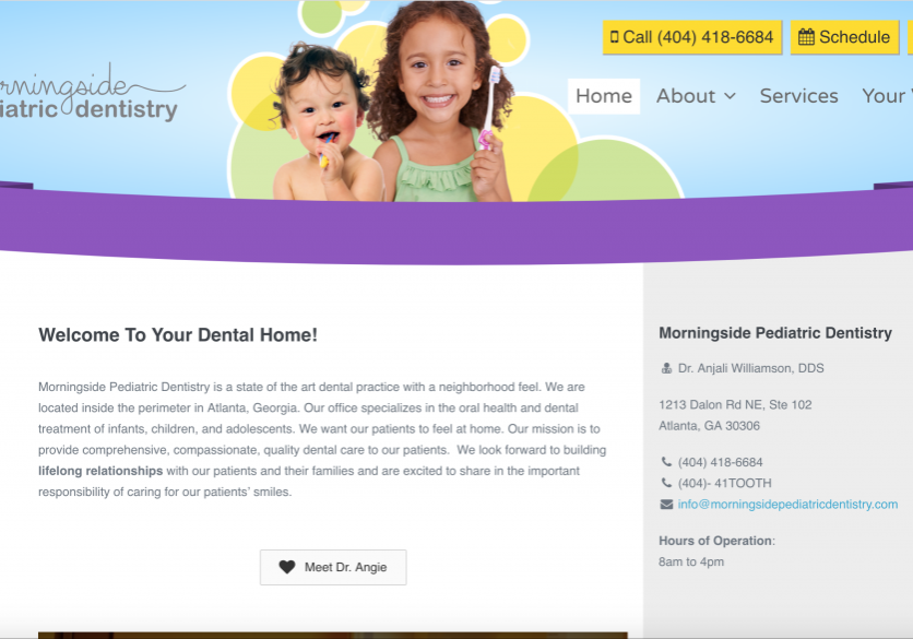 Web design for Morningside Pediatric Dentistry by Spokencode.